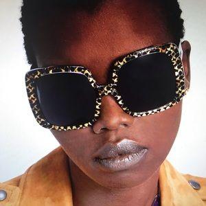COACH Sunglasses, square frame/ logo-Spotty Tort
